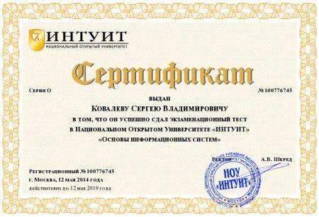 Сертификат «Основы информационных систем»